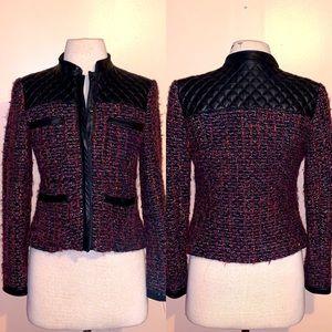 Zara tweed quilted leather blazer size medium